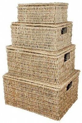 JVL Natural Seagrass Oblong Storage Baskets Boxes Hampers With Lids, Set Of 4