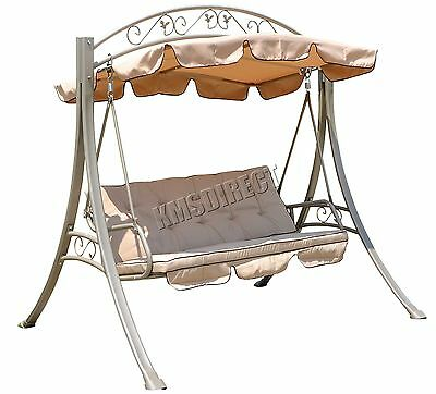 FoxHunter Beige Garden Metal Swing Hammock 3 Seater Chair Patio Outdoor FHSC07