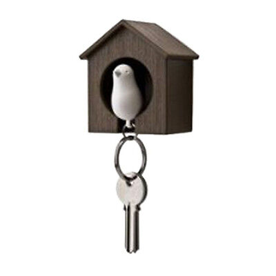 Novel Mini Sparrow Bird Nest KeyChain Key Ring Holder Hook Whistle Household ED
