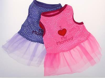 "Cute Pet Dog Apparel Clothes ""I Love My Mommy"" Halloween Vest Skirt Party Dress"
