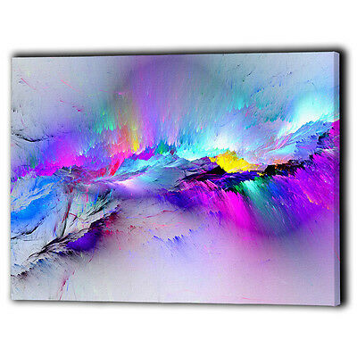 Abstract Canvas Framed Multi Coloured - New Wall Art Prints Gift - Ready To Hang