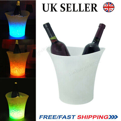 7 Colour Challenge Led Ice Bucket Champagne Wine Drink Cooler Retro Party Bar Uk