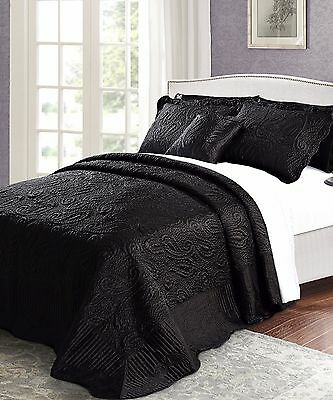 Serenta Oversize Quilted Satin 4 Piece Bedspread Coverlet Quilts