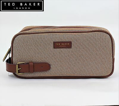 New TED BAKER Mens Canvas Weekend Sports Wash bag gym Travel gift Leather  handle a4e8df7743