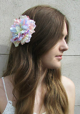 Large Pastel Rainbow Flower Hair Clip Peony Rose Corsage Festival Fascinator Y03