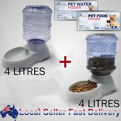 Large automatic dog cat water & food feeder 3.5liters set bowl dispenser plastic