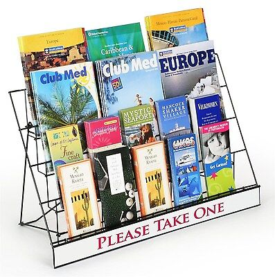 Displays2go Countertop Wire Brochure Rack 4 Tiers with Sign Header Black Meta...