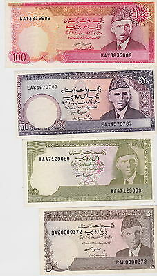 Pakistan - Lot of 4 banknotes: 5, 10, 50, 100 Rupees