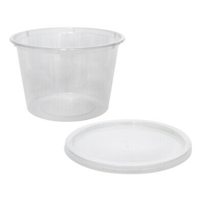 500x Clear Plastic Container with Flat Lid 520mL Round Disposable Rice Dish