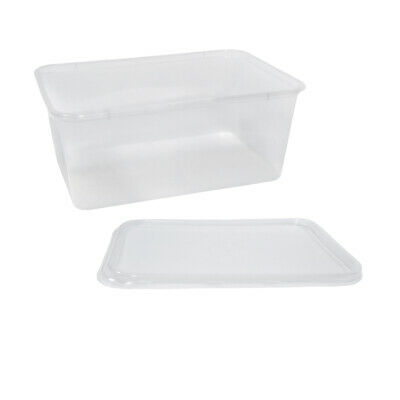 500x Clear Plastic Container w Flat Lid 1000mL Rectangle Disposable Chinese Dish