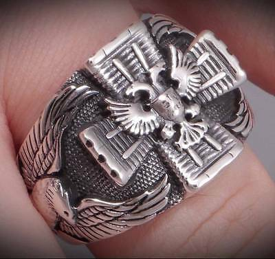 German Imperial Eagle Iron Cross 925 Sterling Solid Silver Mens Ring S 10