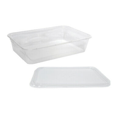 500x Clear Plastic Container w Flat Lid 500mL Rectangle Disposable Chinese Dish