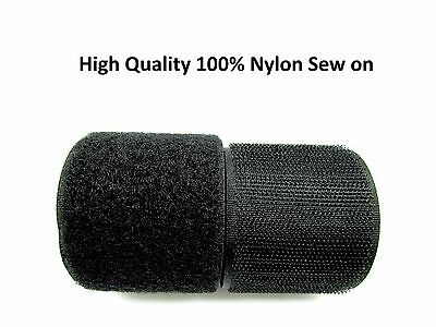 EXTRA Strong BLACK SEW ON 50mm Width HOOK and LOOP Tape STRAP ~100% Nylon~