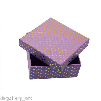 Pretty Large Lilac & Gold Spots Gift/Storage Box. Size:16x16x6.5cm.GBS100