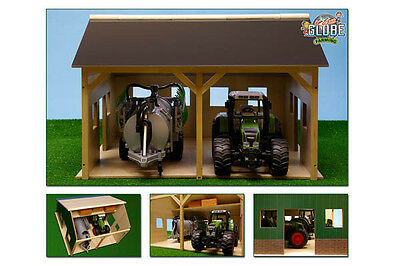 Kids Globe Wooden Farm Shed for 2 Tractors  - Toy Farm Buildings Scale:1:16