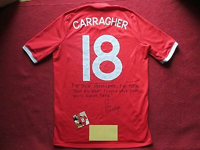 Liverpool England Jamie Carragher Hand Signed England Shirt- New - Photo Proof