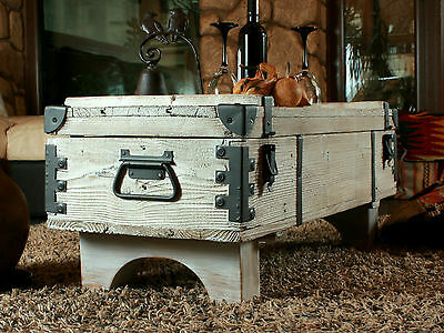 Coffee Table Travel Old White Chest Trunk Cottage Steamer VintageTrunk Retro
