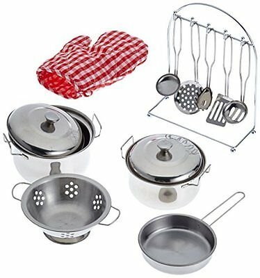 Childrens Cooking Pots Toy Metal Pans and oven gloves utensils Stainless Steel