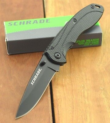 Schrade Pocket Knife Folding Knives Thumb Stud 8Cr13MoV Stainless SCH106ALBK