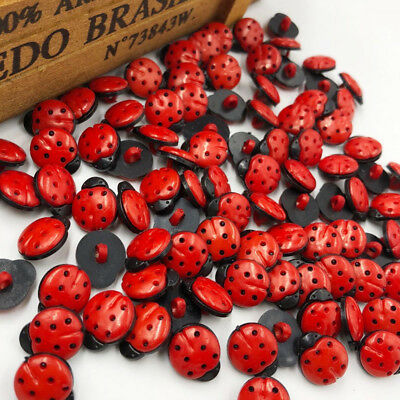 New 20/50/100/500pc Red ladybug DIY Kid's appliques/craft/sewing buttons PT64
