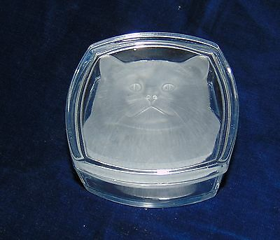 Glass Trinket Box Etched Cat Face