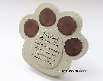 Dog or Cat Paw Memorial Plaque Grave Pet Loss Sadly MIssed Animal Plaque