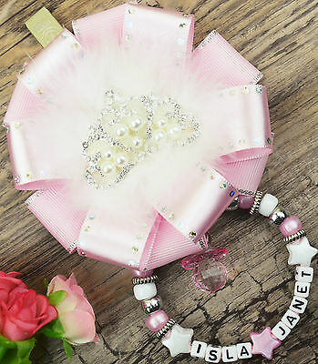 Personalised stunning pram charm baby girls in pink crystal head ideal gift