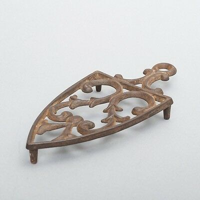 "Antique Cast Iron Trivet Hot Stand Scroll Design with Hanging Loop 8"" Long"