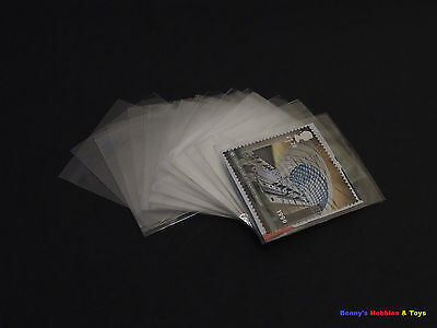 100pcs Philately Stamp Sleeves Protective Transparent OPP Pocket 45mm x 40mm