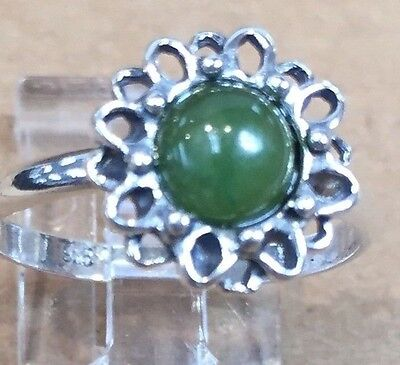 HEART CHAKRA Russian Jade .925 Silver Ring 18mm SIZE 4.5/5/6/7 made in Poland