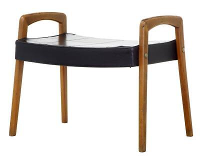 1960's SCANDINAVIAN MODERN LEATHER STOOL