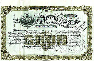 scripophilia - State of New York loan for highway $5000 issue 1911