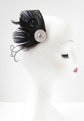 Black & Silver Diamante Peacock Feather Fascinator Hair Clip Vintage 1920s Y12