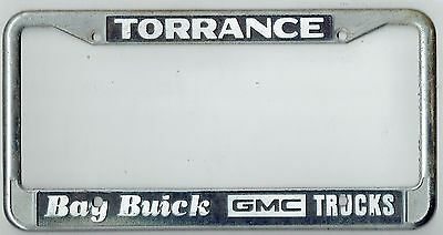 rare torrance california bay buick gmc trucks vintage dealer license plate frame