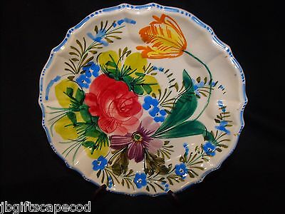 Antique - Hand Painted Plate - Floral W/scallop Edge - Made In Italy - Stamped