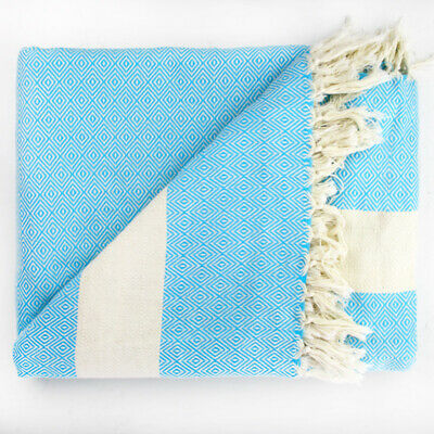 Extra Large 100% Turkish Cotton Throw Blanket TURQUOISE Thick Hand Tied Tassels