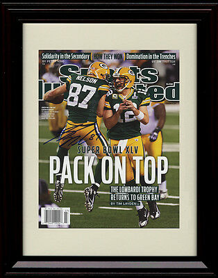 fd9eec80401 Framed Jordy Nelson Sports Illustrated Autograph Print Packers Super Bowl  Champs