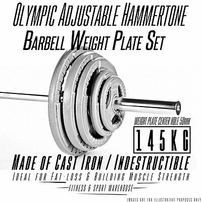 Olympic Barbell &Weight 145KG SET  in Hammertone Plates, 7ft Olympic Bar