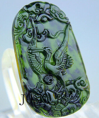 Chinese natural black green jade pendant necklace Jadeite  phoenix hand-carved