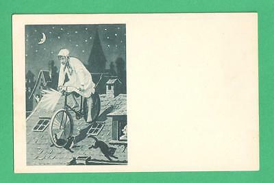 Early Vintage Fantasy Art Postcard Man Sleeping Gown/cap Bicycle Roof Cats Moon