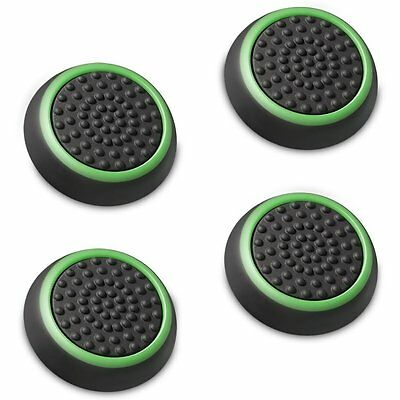 4 X Black Green Silicone Thumb Stick Grip Cover Caps Sony PS4 Analog Controller