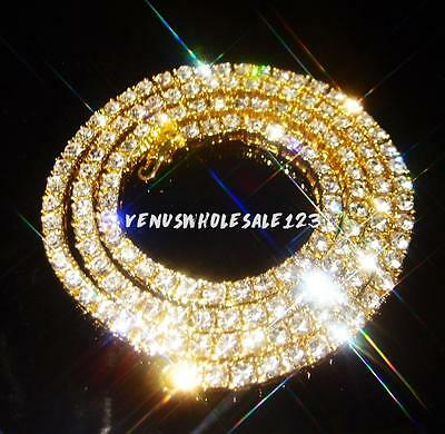 18k Yellow Gold Filled Simulated Clear CZ Iced Out Tennis Chain HipHop Necklace