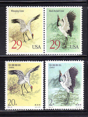 CHINA-USA 1994 MNH SC.2528/2529+2867/2868 Joint Issue,birds