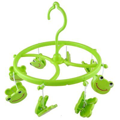 Green Plastic 8 Smile Frog Clips Round Shell Hanging Clothes Peg ED