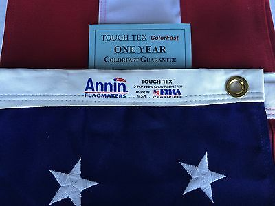 3x5 FT Annin US American Flag Tough Tex Poly Commercial Embroidered Stars & Sewn