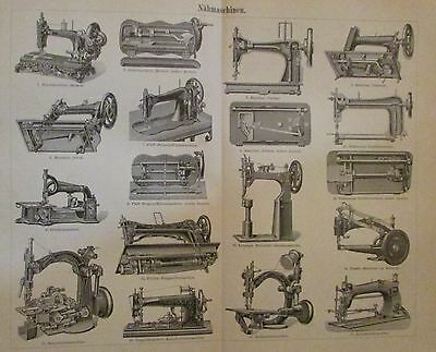 1896 NÄHMASCHINEN Original Druck Antique Print Lithographie