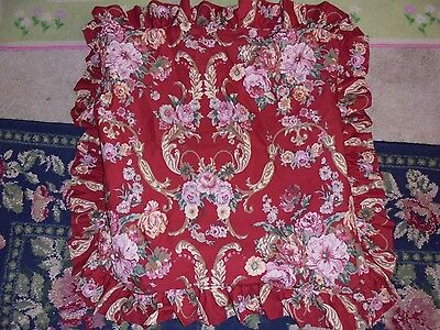 Pillowsham for cutter fabric pink roses on red shabby romantic chic scrolls