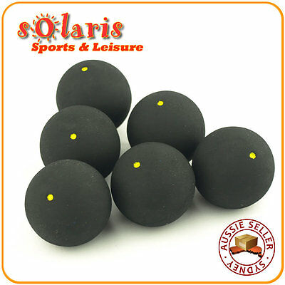 6 x Single Yellow Dot Squash Balls Generic Non-Branded High Quality Rubber