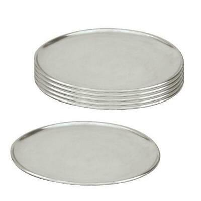 6 x Pizza Tray / Plate / Pan, Aluminium, 250mm / 10 inch, Round, Pizzas