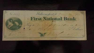 First National Bank Williamsport PA 19th Century Check 1872 Collie Dog